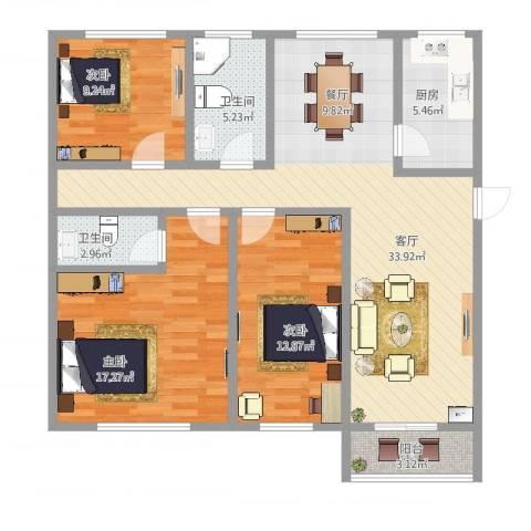 住友宝莲花园3室1厅2卫1厨113.00㎡户型图