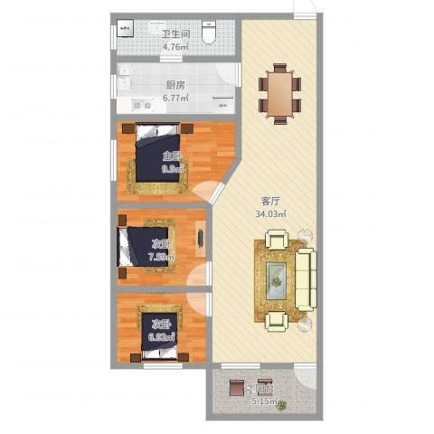 新达路小区3室1厅1卫1厨94.00㎡户型图