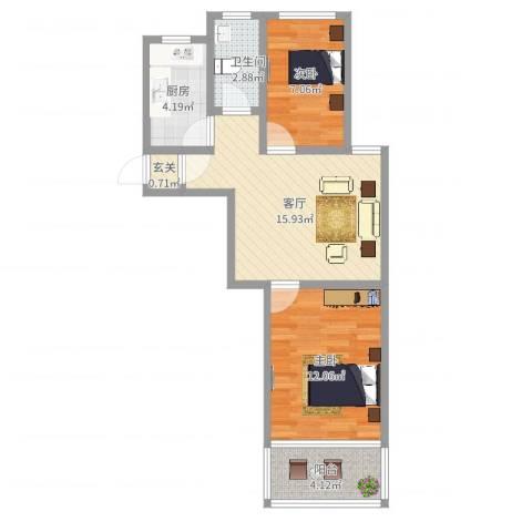 荷一小区2室1厅1卫1厨59.00㎡户型图