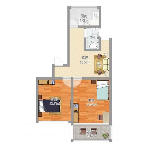 金桥新村四街坊长岛小区2室1厅1卫1厨60.00㎡户型图