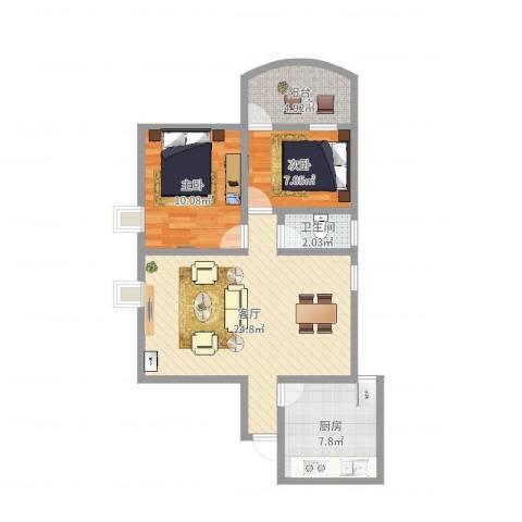 新燕花园2室1厅1卫1厨71.00㎡户型图
