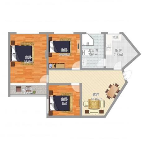 利津小区3室1厅1卫1厨91.00㎡户型图