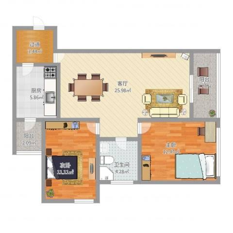 卓悦居第1、2、3、5座2室1厅1卫1厨87.00㎡户型图