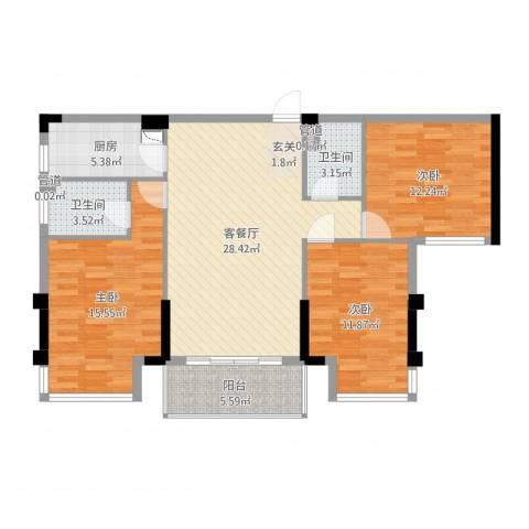 铂金汉宫3室2厅2卫1厨107.00㎡户型图