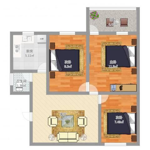 中兴苑3室1厅1卫1厨69.00㎡户型图