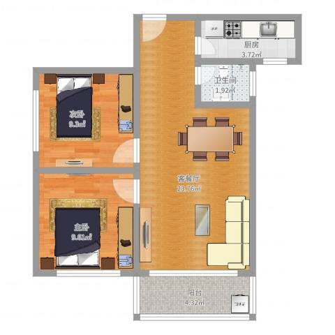 康怡苑2室2厅1卫1厨66.00㎡户型图
