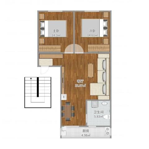 南湖职工新村2室1厅1卫1厨90.00㎡户型图