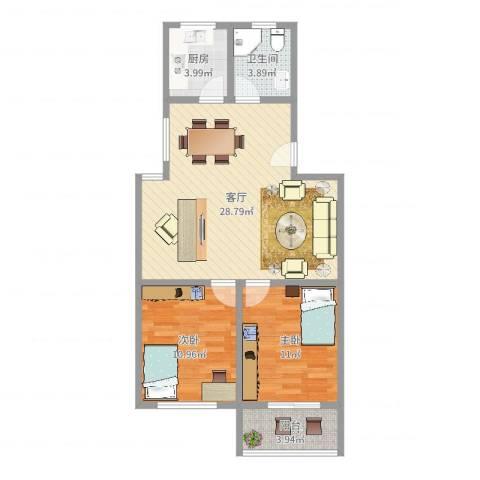 罗山八村2室1厅1卫1厨78.00㎡户型图