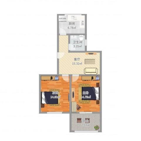 共和三村2室1厅1卫1厨78.00㎡户型图