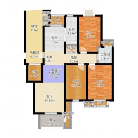 书香名门3室2厅1卫1厨120.00㎡户型图