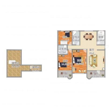 嘉泰花园公寓3室1厅2卫1厨182.00㎡户型图
