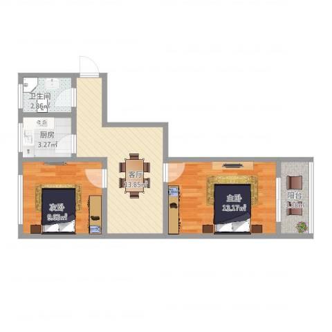 环镇北路400弄小区2室1厅1卫1厨58.00㎡户型图