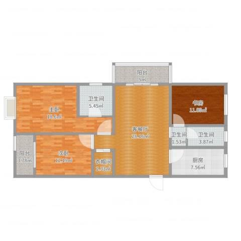 华城・翠竹园A13室2厅3卫1厨124.00㎡户型图