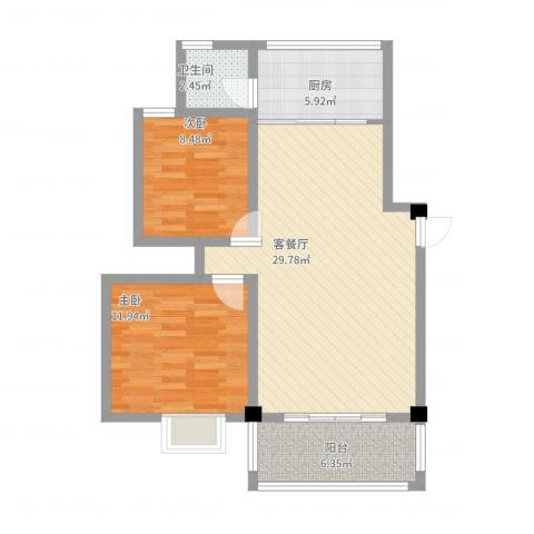 怡兰苑2室2厅1卫1厨93.00㎡户型图