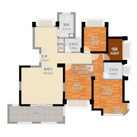 瑶溪金御湾4室2厅2卫1厨144.00㎡户型图
