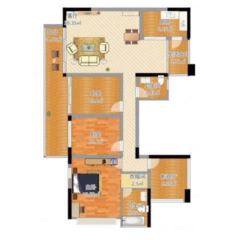 幸福城1室1厅2卫1厨168.00㎡户型图