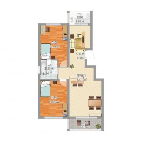 龙源三期2室2厅1卫1厨88.00㎡户型图
