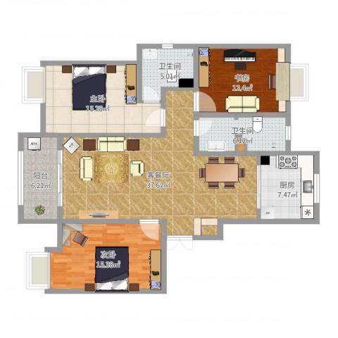 南池水景园3室2厅2卫1厨132.00㎡户型图