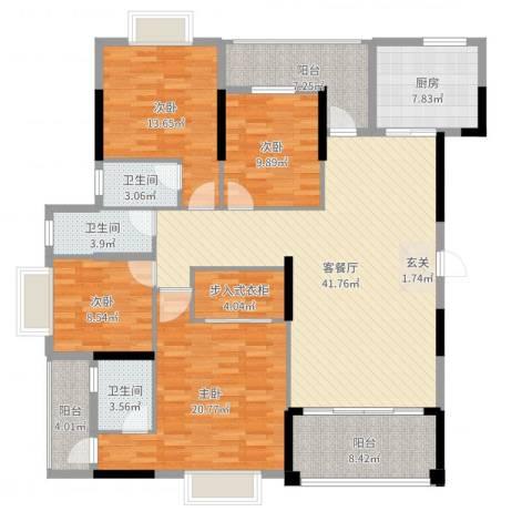 广场花园4室2厅3卫1厨171.00㎡户型图