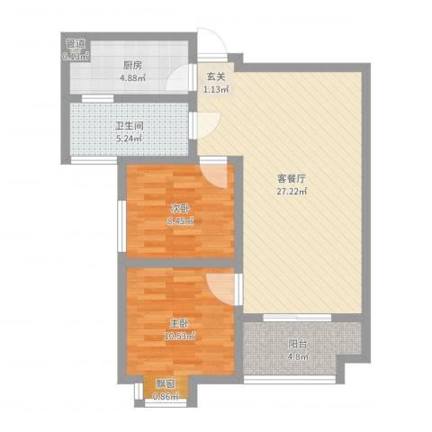 万象湾2室2厅1卫1厨77.00㎡户型图
