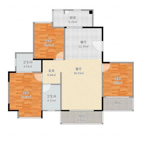 时尚雅苑3室1厅2卫1厨118.00㎡户型图