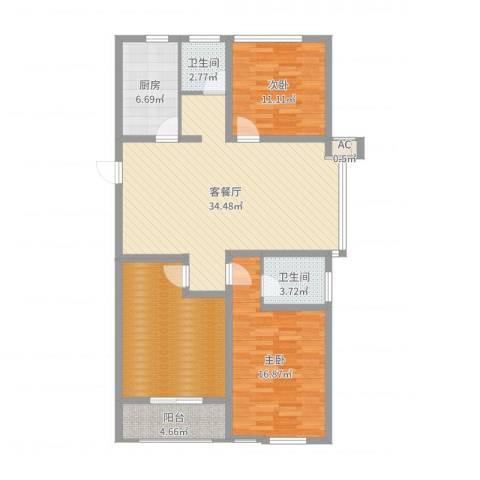 当代国际广场2室2厅2卫1厨121.00㎡户型图