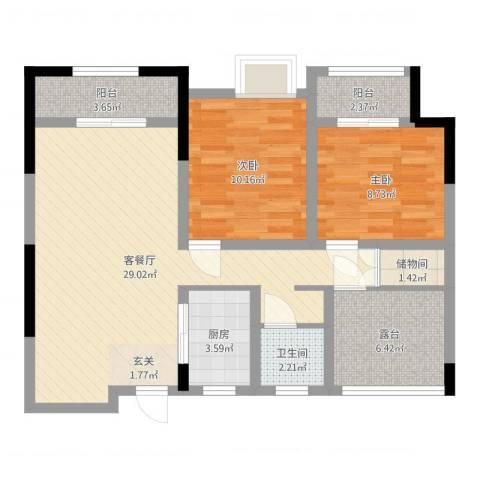 泉山湖香颂小镇2室2厅1卫1厨84.00㎡户型图