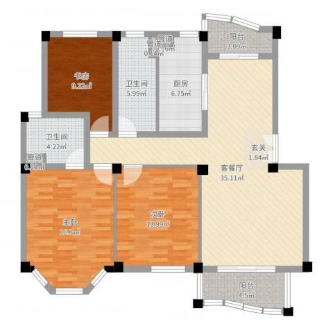 香格里拉花园3室2厅2卫1厨125.00㎡户型图