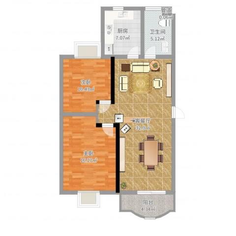 阳光世纪花园2室2厅1卫1厨95.00㎡户型图