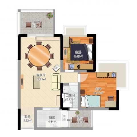 正升・时代港湾2室2厅1卫1厨79.00㎡户型图