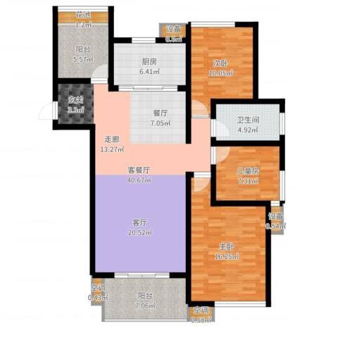 清流水韵3室2厅1卫1厨127.00㎡户型图