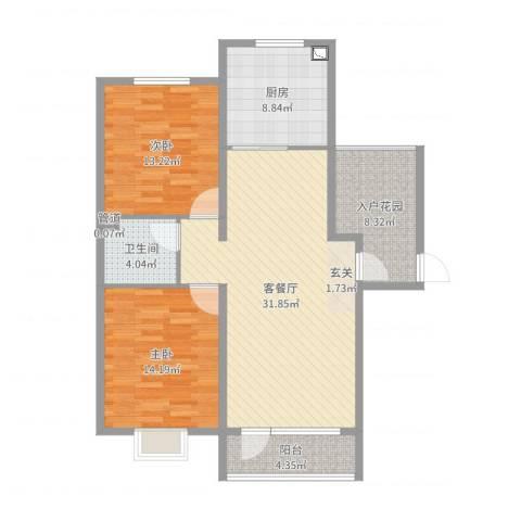 亿隆国际广场2室2厅1卫1厨106.00㎡户型图
