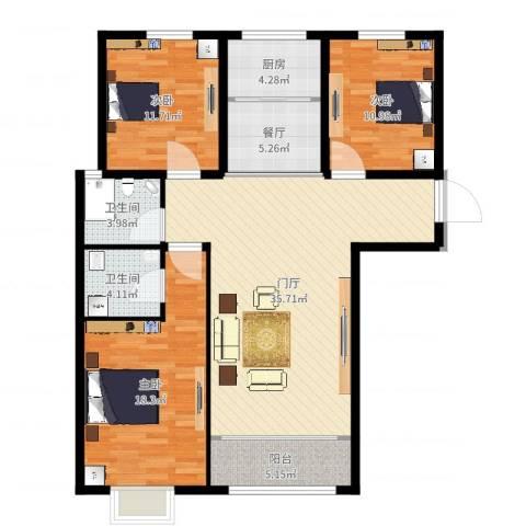 帝都・东城国际3室1厅2卫1厨124.00㎡户型图