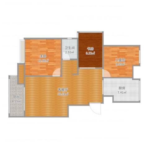 中粮南桥半岛3室2厅2卫1厨97.00㎡户型图