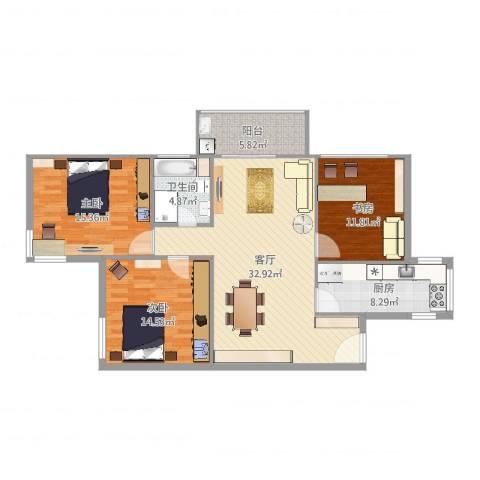 双紫小区三室一厅3室1厅1卫1厨93.60㎡户型图