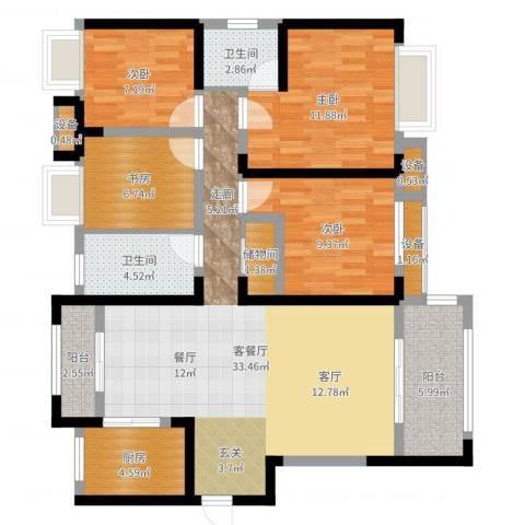 绿地玫瑰城4室2厅2卫1厨116.00㎡户型图