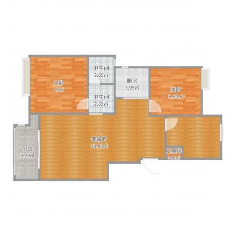 中粮南桥半岛3室2厅2卫1厨96.00㎡户型图