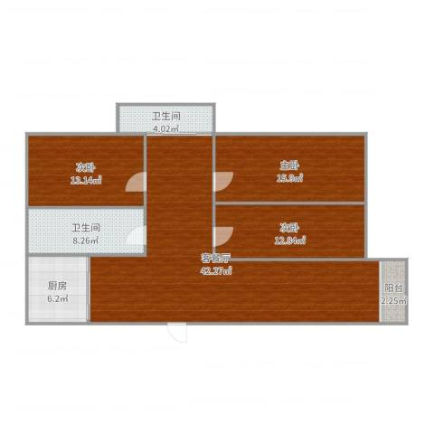 佳安别院3室2厅2卫1厨131.00㎡户型图
