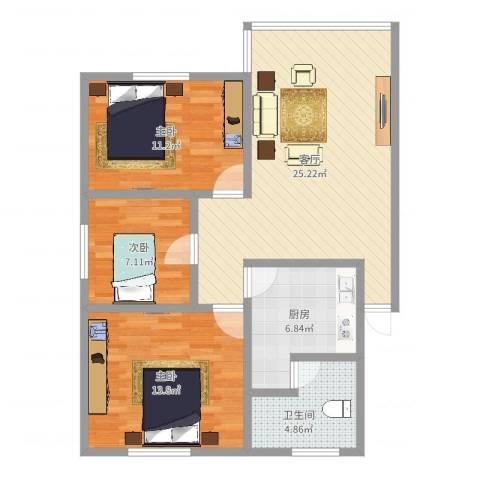 上步花园3室1厅1卫1厨86.00㎡户型图