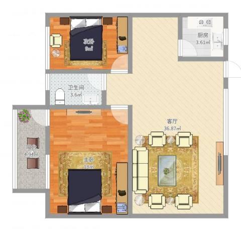 芳村大道东小区2室1厅1卫1厨95.00㎡户型图