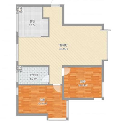 海门富民新村2室2厅1卫1厨99.00㎡户型图