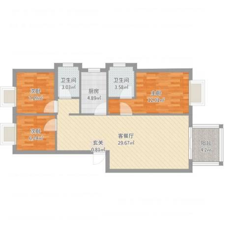 江南春晓3室2厅2卫1厨89.00㎡户型图