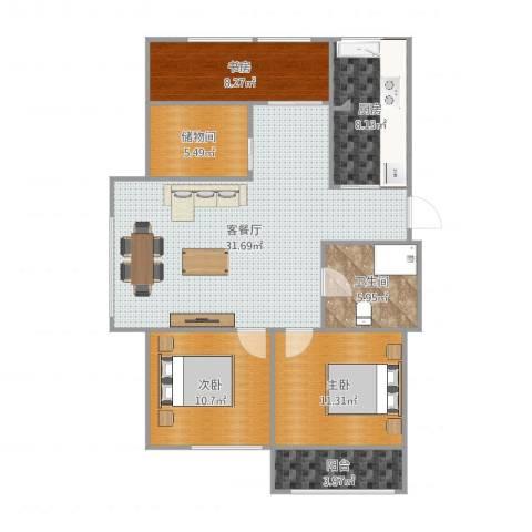 新天泰花园3室2厅1卫1厨94.00㎡户型图