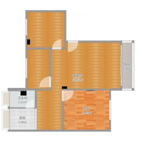 富丽家园福宁园1室2厅3卫1厨88.00㎡户型图