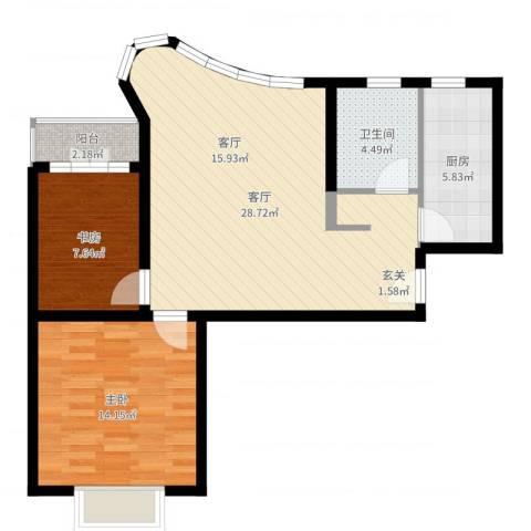 万邦都市花园四、五期2室1厅1卫1厨79.00㎡户型图