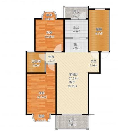 金汇广场二期2室2厅1卫1厨95.00㎡户型图