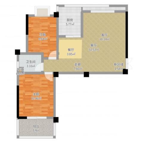 世纪桃花苑2室1厅1卫1厨90.00㎡户型图