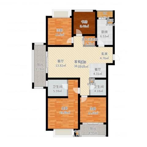 龙湖时代天街4室2厅2卫1厨154.00㎡户型图