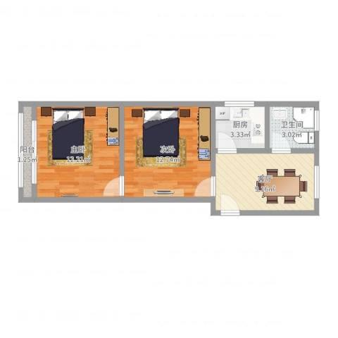 新衡公寓2室1厅1卫1厨52.00㎡户型图
