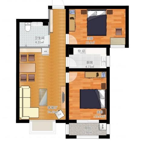 幸福城2室2厅1卫1厨75.00㎡户型图